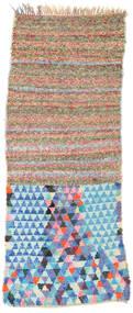 Berber Moroccan - Boucherouite Matta 82X220 Äkta Modern Handknuten Hallmatta Vit/Cremefärgad/Turkosblå ( Marocko)