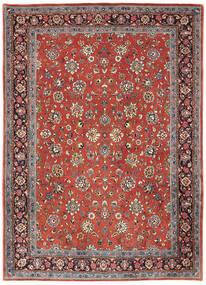 Sarough Matta 214X302 Äkta Orientalisk Handknuten Mörkröd/Ljusgrå (Ull, Persien/Iran)
