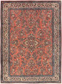Sarough Matta 225X311 Äkta Orientalisk Handknuten Mörkröd/Mörkgrå (Ull, Persien/Iran)