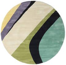 Dynamic Handtufted - Mint Matta Ø 200 Modern Rund Mörkbeige/Mörkgrå/Pastellgrön (Ull, Indien)