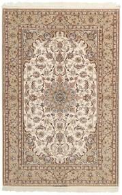 Isfahan Silkesvarp Matta 158X237 Äkta Orientalisk Handvävd Ljusgrå/Beige/Brun (Ull/Silke, Persien/Iran)