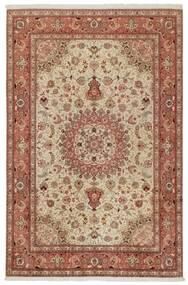 Tabriz 50 Raj Matta 202X308 Äkta Orientalisk Handknuten Brun/Ljusbrun (Ull/Silke, Persien/Iran)