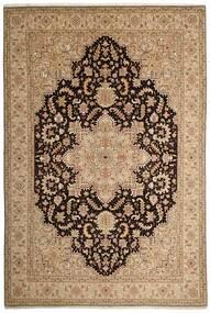 Tabriz 50 Raj Matta 200X294 Äkta Orientalisk Handvävd Ljusbrun/Mörkbeige (Ull/Silke, Persien/Iran)