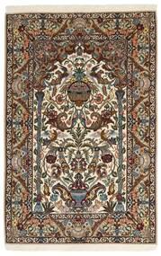 Isfahan Silkesvarp Matta 127X200 Äkta Orientalisk Handknuten Mörkbrun/Ljusbrun/Brun (Ull/Silke, Persien/Iran)