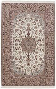 Isfahan Silkesvarp Matta 155X232 Äkta Orientalisk Handvävd Ljusgrå/Ljusbrun (Ull/Silke, Persien/Iran)