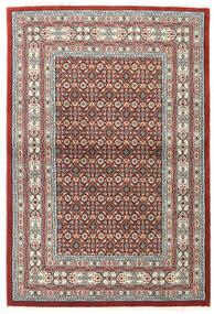 Moud Matta 100X150 Äkta Orientalisk Handknuten Ljusgrå/Mörkröd (Ull/Silke, Persien/Iran)