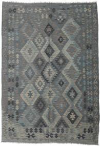 Kelim Afghan Old Style Matta 203X289 Äkta Orientalisk Handvävd Mörkgrön/Grön/Ljusgrå (Ull, Afghanistan)