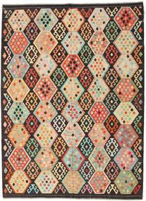 Kelim Afghan Old Style Matta 216X291 Äkta Orientalisk Handvävd Mörkbrun/Mörkbeige (Ull, Afghanistan)