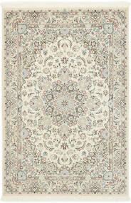 Nain 9La Sherkat Farsh Matta 140X207 Äkta Orientalisk Handknuten Beige/Ljusgrå/Vit/Cremefärgad (Ull/Silke, Persien/Iran)