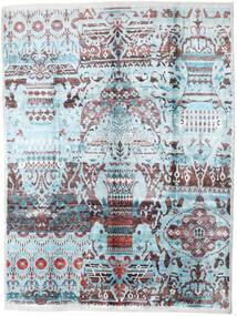 Sari Äkta Silke Matta 275X363 Äkta Modern Handknuten Ljusblå/Mörkgrå Stor (Silke, Indien)