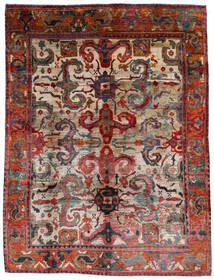 Sari Äkta Silke Matta 249X332 Äkta Modern Handknuten Mörkbrun/Mörkröd (Silke, Indien)