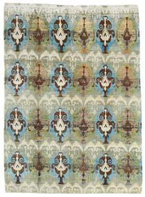 Sari Äkta Silke Matta 206X286 Äkta Modern Handknuten Ljusgrön/Ljusgrå (Silke, Indien)