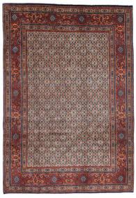 Moud Matta 200X290 Äkta Orientalisk Handknuten Mörkbrun/Mörkröd (Ull/Silke, Persien/Iran)