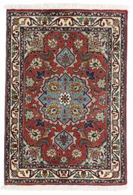 Tabriz 50 Raj Matta 62X90 Äkta Orientalisk Handknuten Mörkröd/Mörkbrun (Ull/Silke, Persien/Iran)