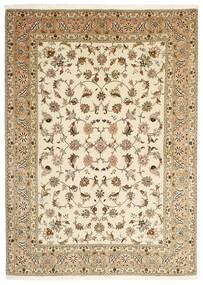 Tabriz 50 Raj Matta 147X206 Äkta Orientalisk Handknuten Beige/Ljusbrun (Ull/Silke, Persien/Iran)