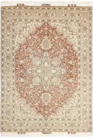 Tabriz 50 Raj Matta 148X214 Äkta Orientalisk Handknuten Beige/Ljusgrå (Ull/Silke, Persien/Iran)