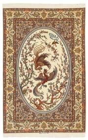 Isfahan Silkesvarp Matta 132X200 Äkta Orientalisk Handknuten Brun/Beige (Ull/Silke, Persien/Iran)
