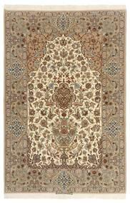 Isfahan Silkesvarp Matta 130X200 Äkta Orientalisk Handknuten Ljusbrun/Beige (Ull/Silke, Persien/Iran)