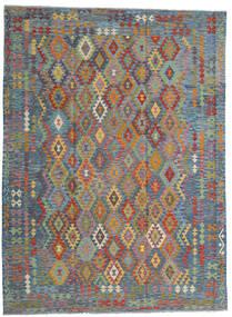 Kelim Afghan Old Style Matta 256X351 Äkta Orientalisk Handvävd Ljusgrå/Ljusbrun Stor (Ull, Afghanistan)