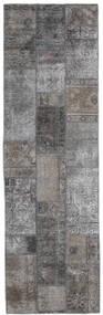 Patchwork - Persien/Iran Matta 75X251 Äkta Modern Handknuten Hallmatta Ljusgrå/Mörkgrå (Ull, Persien/Iran)