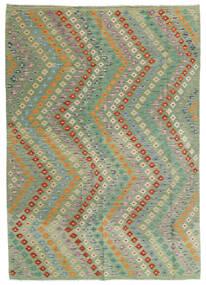 Kelim Afghan Old Style Matta 176X248 Äkta Orientalisk Handvävd Ljusgrön/Ljusgrå (Ull, Afghanistan)