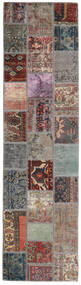 Patchwork - Persien/Iran Matta 82X303 Äkta Modern Handknuten Hallmatta Ljusgrå/Svart (Ull, Persien/Iran)