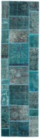 Patchwork - Persien/Iran Matta 80X296 Äkta Modern Handknuten Hallmatta Mörk Turkos/Turkosblå (Ull, Persien/Iran)