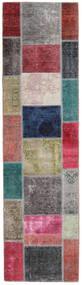 Patchwork - Persien/Iran Matta 82X302 Äkta Modern Handknuten Hallmatta Brun/Mörkgrå (Ull, Persien/Iran)