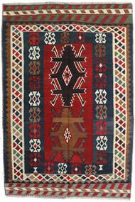 Kelim Vintage Matta 141X213 Äkta Orientalisk Handvävd Mörkröd/Mörkgrå (Ull, Persien/Iran)