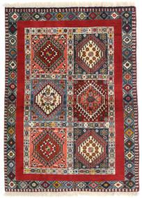 Yalameh Matta 98X136 Äkta Orientalisk Handknuten Mörkröd/Mörkbrun (Ull, Persien/Iran)