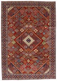 Hamadan Matta 215X308 Äkta Orientalisk Handknuten Mörkröd/Mörkbrun (Ull, Persien/Iran)