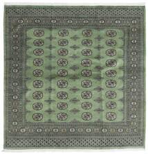 Pakistan Bokhara 2Ply Matta 203X204 Äkta Orientalisk Handknuten Kvadratisk Mörkgrå/Mörkgrön (Ull, Pakistan)