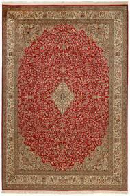 Kashmir Äkta Silke Matta 214X305 Äkta Orientalisk Handknuten Mörkröd/Brun (Silke, Indien)