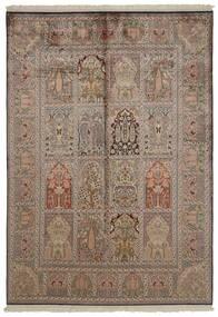 Kashmir Äkta Silke Matta 151X218 Äkta Orientalisk Handknuten Ljusgrå/Brun/Ljusbrun (Silke, Indien)
