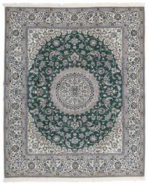 Nain 9La Matta 205X245 Äkta Orientalisk Handknuten Ljusgrå/Mörkgrå (Ull/Silke, Persien/Iran)