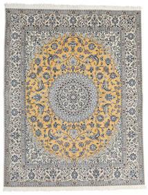 Nain 9La Matta 200X253 Äkta Orientalisk Handknuten Ljusgrå/Mörkgrå (Ull/Silke, Persien/Iran)