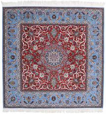 Isfahan Silkesvarp Matta 209X210 Äkta Orientalisk Handknuten Kvadratisk Ljuslila/Mörkröd (Ull/Silke, Persien/Iran)
