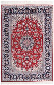 Isfahan Silkesvarp Signerad Ansari Matta 158X237 Äkta Orientalisk Handknuten Ljuslila/Mörkgrå (Ull/Silke, Persien/Iran)