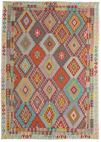 Kelim Afghan Old Style Matta 206X287 Äkta Orientalisk Handvävd Mörkröd/Turkosblå (Ull, Afghanistan)