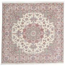 Tabriz 60 Raj Silkesvarp Matta 198X201 Äkta Orientalisk Handknuten Kvadratisk Ljusgrå/Beige (Ull/Silke, Persien/Iran)