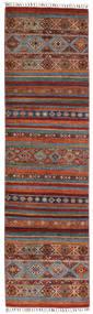 Shabargan Matta 83X292 Äkta Modern Handknuten Hallmatta Mörkbrun/Röd (Ull, Afghanistan)