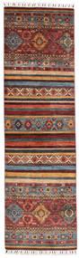 Shabargan Matta 78X274 Äkta Modern Handknuten Hallmatta Mörkröd/Mörkbrun (Ull, Afghanistan)