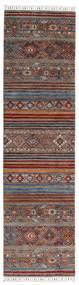 Shabargan Matta 82X304 Äkta Modern Handknuten Hallmatta Mörkröd/Mörkbrun (Ull, Afghanistan)
