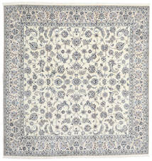 Nain 9La Matta 245X254 Äkta Orientalisk Handknuten Kvadratisk Ljusgrå/Vit/Cremefärgad (Ull/Silke, Persien/Iran)