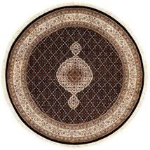 Tabriz Royal Matta Ø 151 Äkta Orientalisk Handknuten Rund Mörkröd/Brun ( Indien)