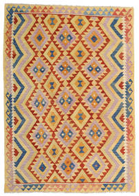 Kelim Afghan Old Style Matta 176X252 Äkta Orientalisk Handvävd Mörkbeige/Ljusrosa (Ull, Afghanistan)