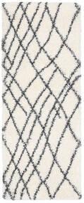 Shaggy Tangier - Vit/Mörkgrå Matta 80X200 Modern Hallmatta Beige/Vit/Cremefärgad ( Turkiet)