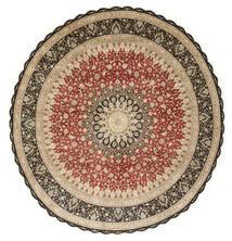 Ghom Silke Matta Ø 203 Äkta Orientalisk Handknuten Rund Ljusbrun/Mörkbeige (Silke, Persien/Iran)