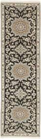 Nain 9La Matta 81X291 Äkta Orientalisk Handknuten Hallmatta Ljusgrå/Mörkgrå (Ull/Silke, Persien/Iran)