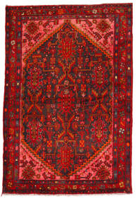 Hamadan Matta 135X205 Äkta Orientalisk Handknuten Mörkröd/Roströd (Ull, Persien/Iran)